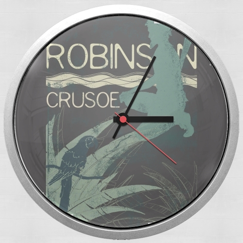 Book Collection: Robinson Crusoe para Reloj de pared