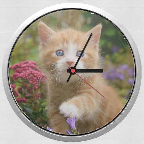 Cute ginger kitten in a flowery garden, lovely and enchanting cat para Reloj de pared
