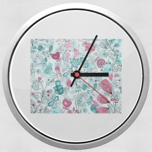 doodle flowers and butterflies para Reloj de pared