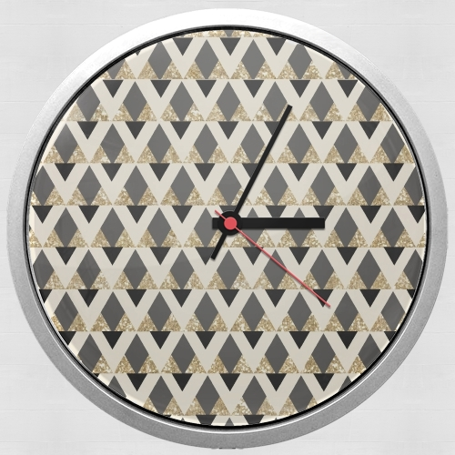 Glitter Triangles in Gold Black And Nude para Reloj de pared