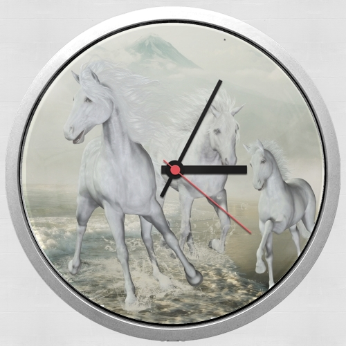 White Horses On The Beach para Reloj de pared