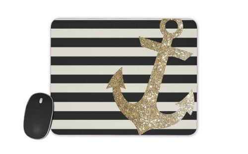 gold glitter anchor in black para alfombrillas raton