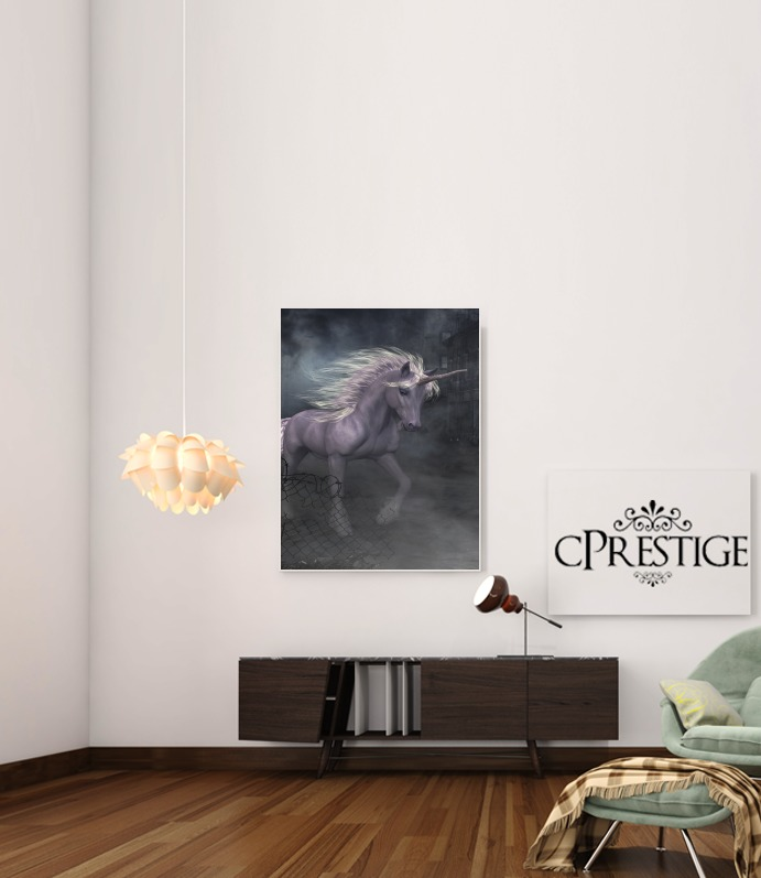 A dreamlike Unicorn walking through a destroyed city para Poster adhesivas 30 * 40 cm