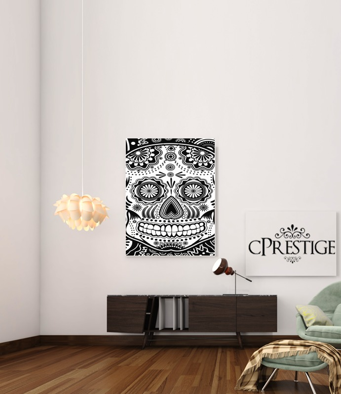 black and white sugar skull para Poster adhesivas 30 * 40 cm