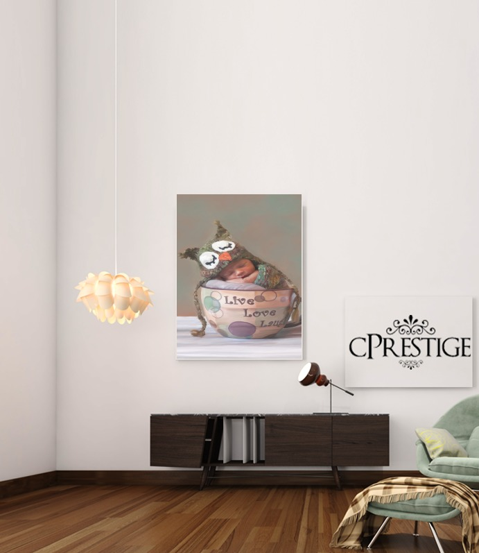 Painting Baby With Owl Cap in a Teacup para Poster adhesivas 30 * 40 cm