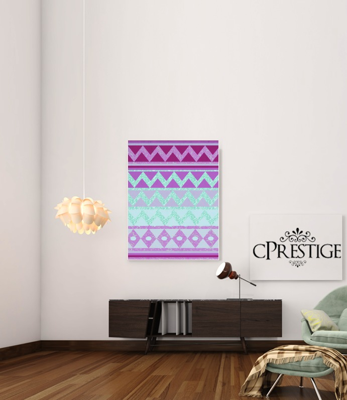 Tribal Chevron in pink and mint glitter para Poster adhesivas 30 * 40 cm