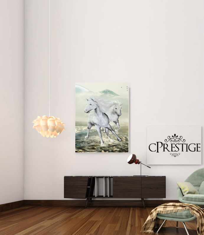 White Horses On The Beach para Poster adhesivas 30 * 40 cm