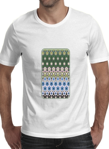 Abstract ethnic floral stripe pattern white blue green para Camisetas hombre