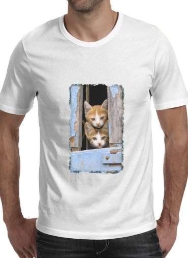 Cute curious kittens in an old window para Camisetas hombre