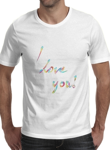 I love you - Rainbow Text para Camisetas hombre