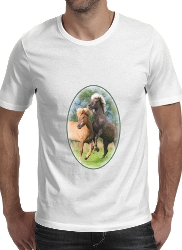 Two Icelandic horses playing, rearing and frolic around in a meadow para Camisetas hombre