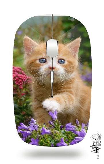 Cute ginger kitten in a flowery garden, lovely and enchanting cat para Ratón óptico inalámbrico con receptor USB