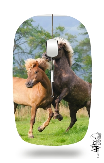 Two Icelandic horses playing, rearing and frolic around in a meadow para Ratón óptico inalámbrico con receptor USB