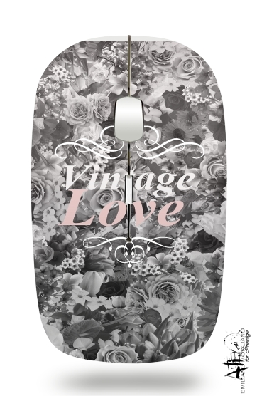Vintage love in black and white para Ratón óptico inalámbrico con receptor USB