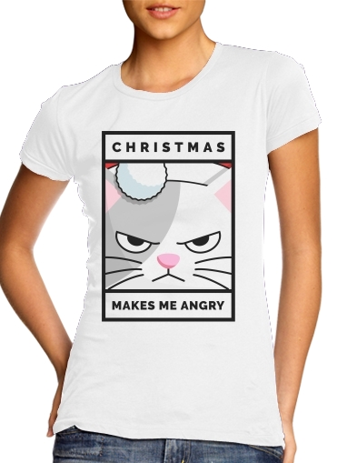 T-Shirts Christmas makes me Angry cat