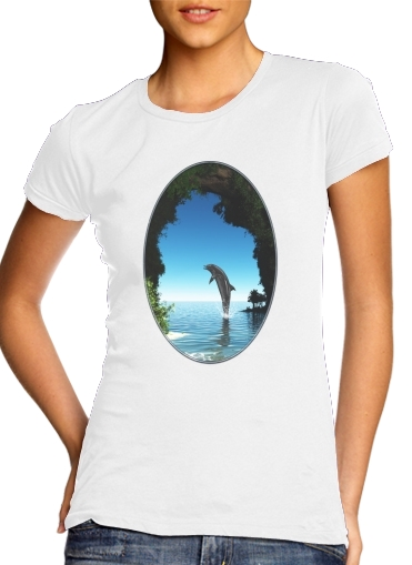 Dolphin in a hidden cave para Camiseta Mujer