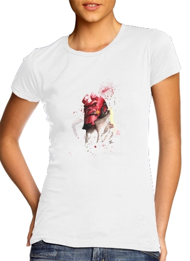 Hellboy Watercolor Art para Camiseta Mujer