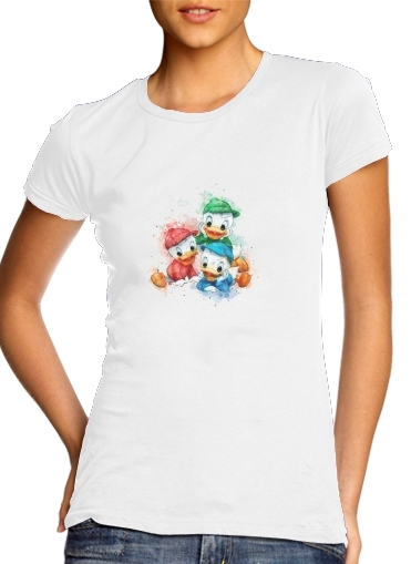 Huey Dewey and Louie watercolor art para Camiseta Mujer
