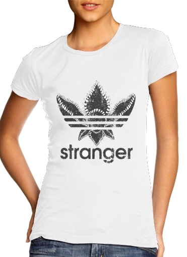 Stranger Things Demogorgon Monster JOKE Adidas Parodie Logo Serie TV para Camiseta Mujer