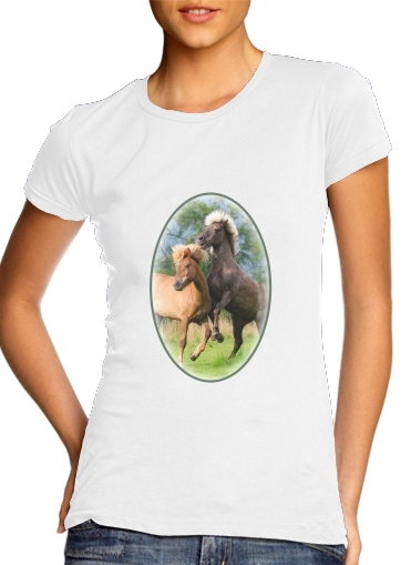 Two Icelandic horses playing, rearing and frolic around in a meadow para Camiseta Mujer