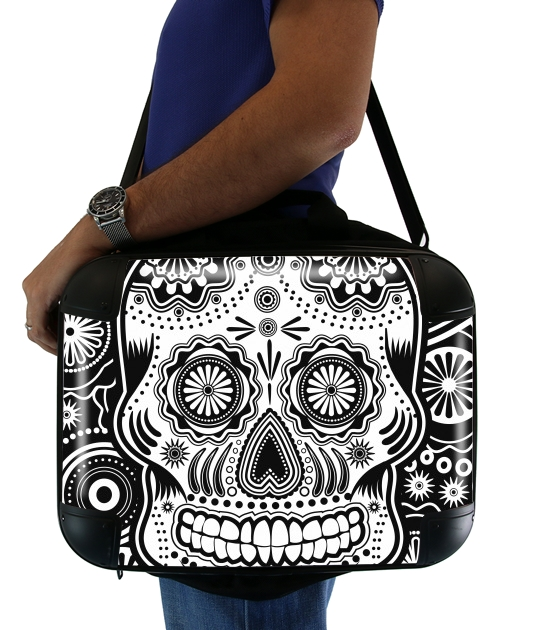 black and white sugar skull para bolso de la computadora