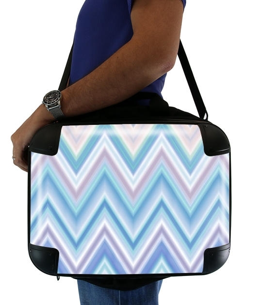 BLUE COLORFUL CHEVRON  para bolso de la computadora