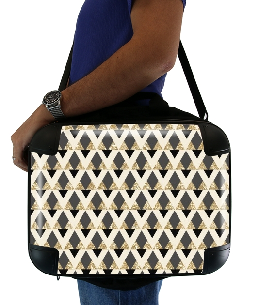 Glitter Triangles in Gold Black And Nude para bolso de la computadora