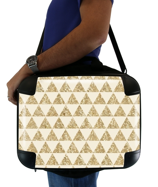Glitter Triangles in Gold para bolso de la computadora