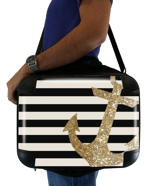 gold glitter anchor in black para bolso de la computadora