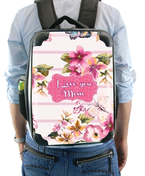 Pink floral Marinière - Love You Mom para Mochila