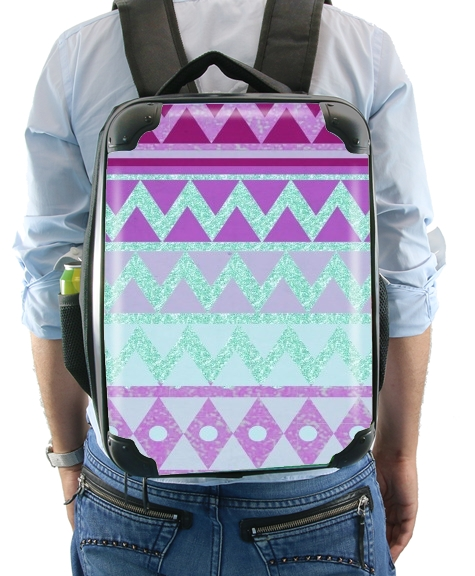 Tribal Chevron in pink and mint glitter para Mochila